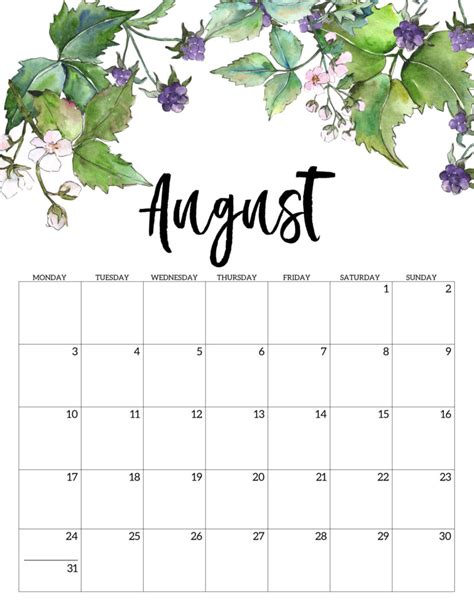30 Beautiful Printable August 2020 Calendars for Free