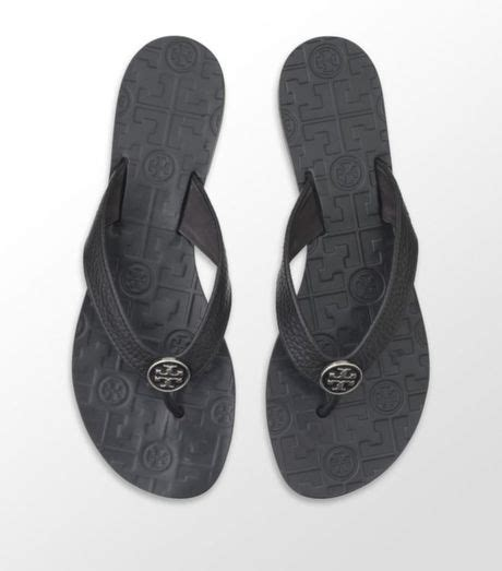 Tory Burch Thora Leather Sandal in Black   Lyst