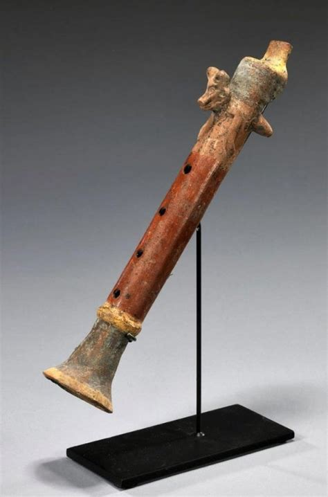 Important Aztec Pottery Flute - Flying Coyote   June 14th