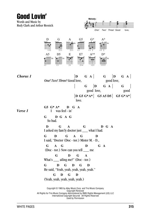 Good Lovin' by The Young Rascals - Guitar Chords/Lyrics