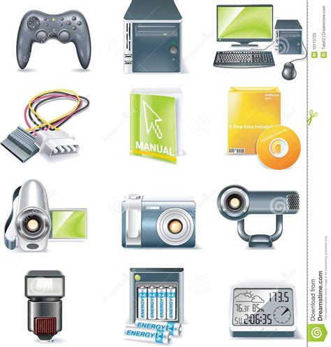 Vector Detailed Computer Parts Icon Set