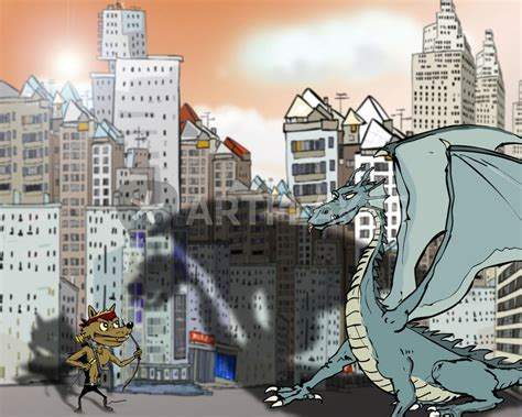 """""""wolf and the dragon in the city"""" Drawing art prints and"""