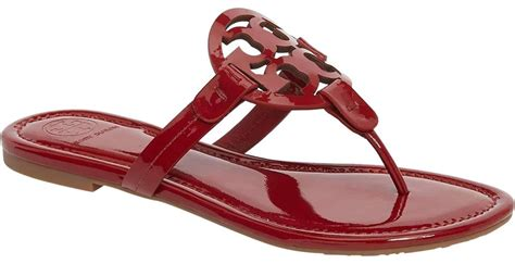 Tory Burch Red Dark Redstone Miller Patent Leather Flats M